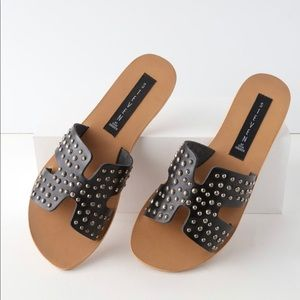 Steve Madden Greece Studded Black Leather Sandals